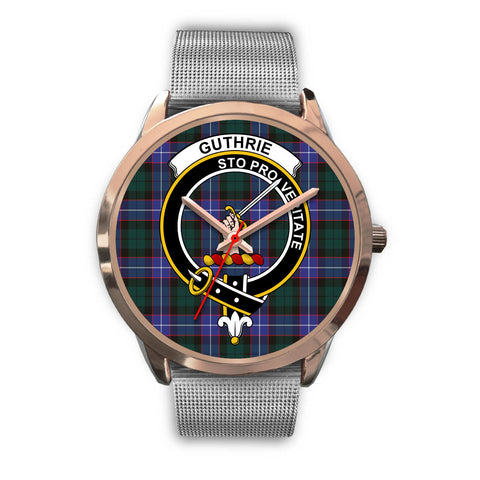 Image of Guthrie Modern, Rose Gold Metal Link Watch,  leather steel watch, tartan watch, tartan watches, clan watch, scotland watch, merry christmas, cyber Monday, halloween, black Friday