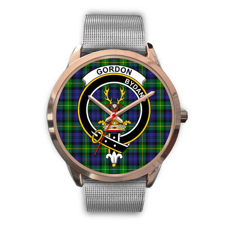 Gordon Modern, Rose Gold Metal Link Watch,  leather steel watch, tartan watch, tartan watches, clan watch, scotland watch, merry christmas, cyber Monday, halloween, black Friday