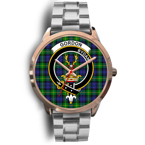 Gordon Modern, Brown Leather Watch,  leather steel watch, tartan watch, tartan watches, clan watch, scotland watch, merry christmas, cyber Monday, halloween, black Friday