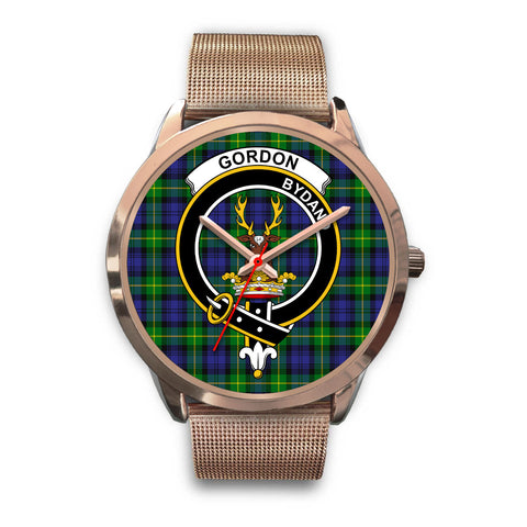 Image of Gordon Modern, Black Leather Watch,  leather steel watch, tartan watch, tartan watches, clan watch, scotland watch, merry christmas, cyber Monday, halloween, black Friday