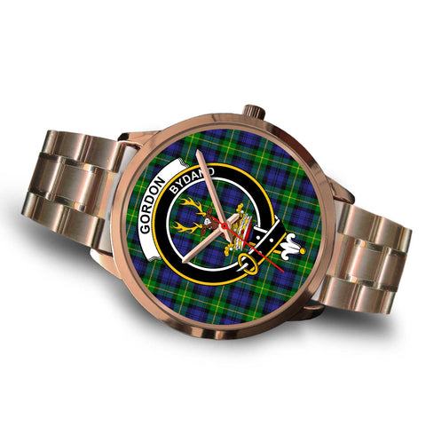 Image of Gordon Modern, Brown Leather Watch,  leather steel watch, tartan watch, tartan watches, clan watch, scotland watch, merry christmas, cyber Monday, halloween, black Friday