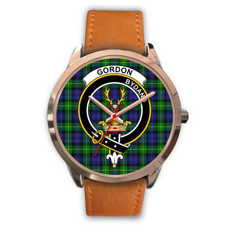 Image of Gordon Modern, Pink Leather Watch,  leather steel watch, tartan watch, tartan watches, clan watch, scotland watch, merry christmas, cyber Monday, halloween, black Friday