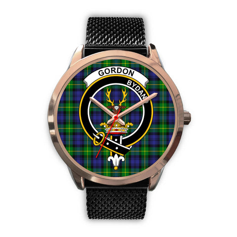 Image of Gordon Modern, Silver Metal Link Watch,  leather steel watch, tartan watch, tartan watches, clan watch, scotland watch, merry christmas, cyber Monday, halloween, black Friday