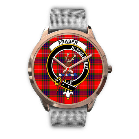 Fraser Modern, Rose Gold Metal Link Watch,  leather steel watch, tartan watch, tartan watches, clan watch, scotland watch, merry christmas, cyber Monday, halloween, black Friday