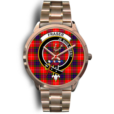 Image of Fraser Modern, Rose Gold Metal Link Watch,  leather steel watch, tartan watch, tartan watches, clan watch, scotland watch, merry christmas, cyber Monday, halloween, black Friday