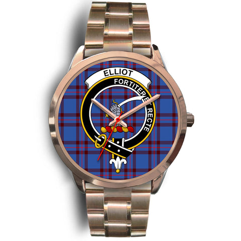 Image of Elliot Modern, Rose Gold Metal Link Watch,  leather steel watch, tartan watch, tartan watches, clan watch, scotland watch, merry christmas, cyber Monday, halloween, black Friday