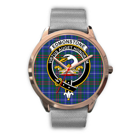 Edmonstone, Rose Gold Metal Link Watch,  leather steel watch, tartan watch, tartan watches, clan watch, scotland watch, merry christmas, cyber Monday, halloween, black Friday