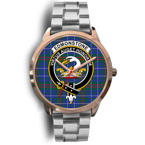 Edmonstone, Brown Leather Watch,  leather steel watch, tartan watch, tartan watches, clan watch, scotland watch, merry christmas, cyber Monday, halloween, black Friday