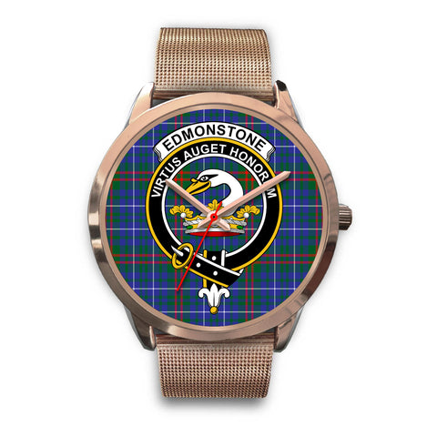 Edmonstone, Black Leather Watch,  leather steel watch, tartan watch, tartan watches, clan watch, scotland watch, merry christmas, cyber Monday, halloween, black Friday