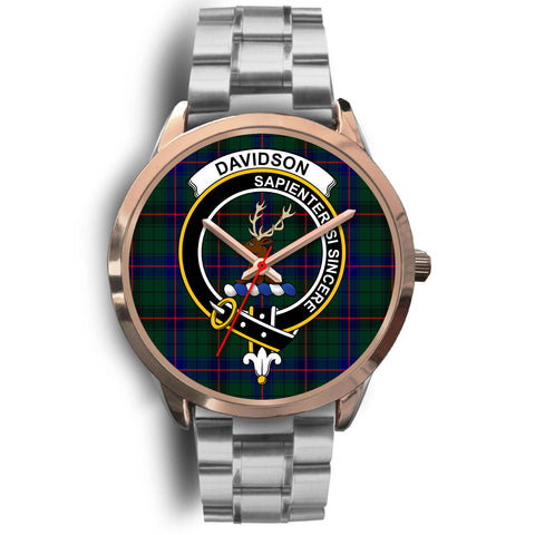 Davidson Modern, Brown Leather Watch,  leather steel watch, tartan watch, tartan watches, clan watch, scotland watch, merry christmas, cyber Monday, halloween, black Friday