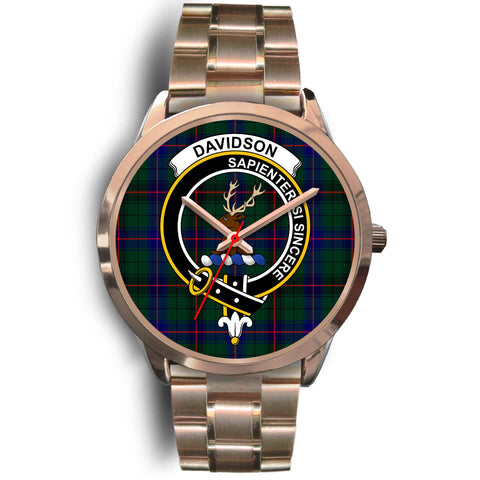 Davidson Modern, Rose Gold Metal Link Watch,  leather steel watch, tartan watch, tartan watches, clan watch, scotland watch, merry christmas, cyber Monday, halloween, black Friday