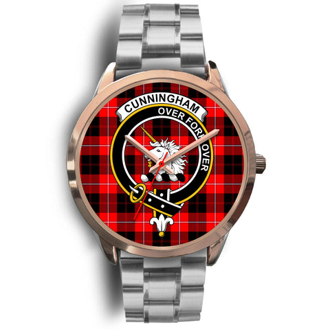 Cunningham Modern, Brown Leather Watch,  leather steel watch, tartan watch, tartan watches, clan watch, scotland watch, merry christmas, cyber Monday, halloween, black Friday