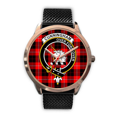 Image of Cunningham Modern, Silver Metal Link Watch,  leather steel watch, tartan watch, tartan watches, clan watch, scotland watch, merry christmas, cyber Monday, halloween, black Friday