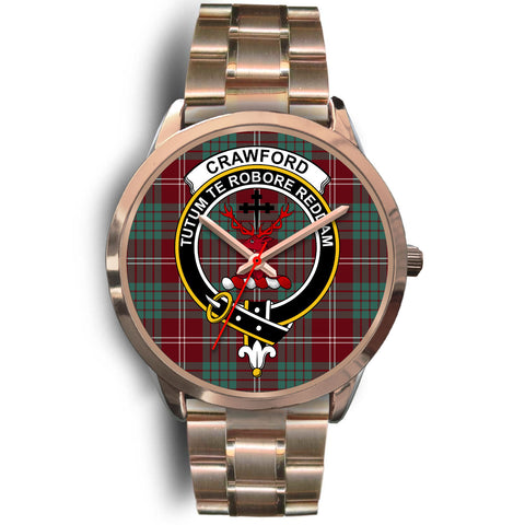 Image of Crawford Modern, Rose Gold Metal Link Watch,  leather steel watch, tartan watch, tartan watches, clan watch, scotland watch, merry christmas, cyber Monday, halloween, black Friday