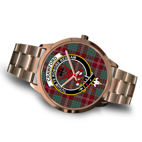 Image of Crawford Modern, Brown Leather Watch,  leather steel watch, tartan watch, tartan watches, clan watch, scotland watch, merry christmas, cyber Monday, halloween, black Friday
