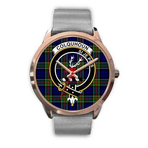 Colquhoun Modern, Rose Gold Metal Link Watch,  leather steel watch, tartan watch, tartan watches, clan watch, scotland watch, merry christmas, cyber Monday, halloween, black Friday