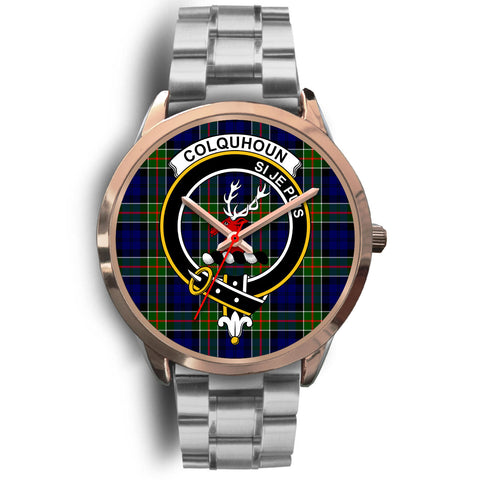 Colquhoun Modern, Brown Leather Watch,  leather steel watch, tartan watch, tartan watches, clan watch, scotland watch, merry christmas, cyber Monday, halloween, black Friday