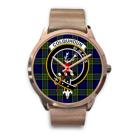 Colquhoun Modern, Black Leather Watch,  leather steel watch, tartan watch, tartan watches, clan watch, scotland watch, merry christmas, cyber Monday, halloween, black Friday