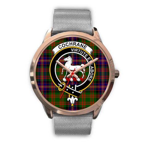 Cochrane Modern, Rose Gold Metal Link Watch,  leather steel watch, tartan watch, tartan watches, clan watch, scotland watch, merry christmas, cyber Monday, halloween, black Friday