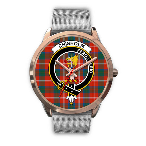 Chisholm Ancient, Rose Gold Metal Link Watch,  leather steel watch, tartan watch, tartan watches, clan watch, scotland watch, merry christmas, cyber Monday, halloween, black Friday