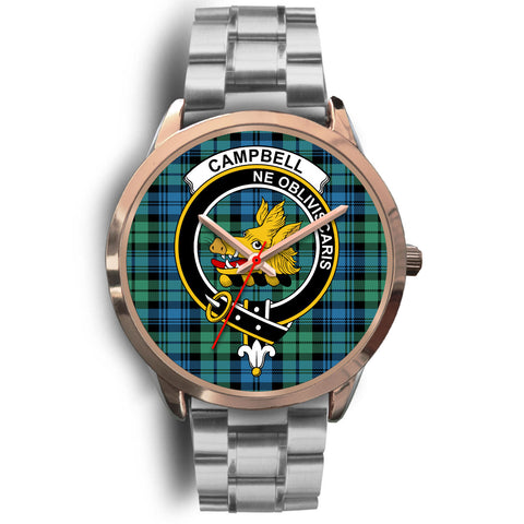 Campbell Ancient 01, Brown Leather Watch,  leather steel watch, tartan watch, tartan watches, clan watch, scotland watch, merry christmas, cyber Monday, halloween, black Friday