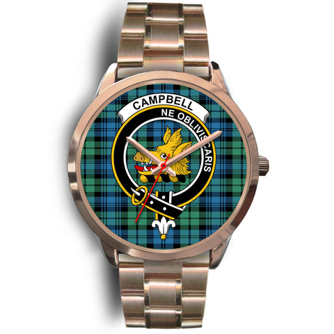 Campbell Ancient 01, Rose Gold Metal Link Watch,  leather steel watch, tartan watch, tartan watches, clan watch, scotland watch, merry christmas, cyber Monday, halloween, black Friday