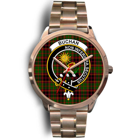 Buchan Modern, Rose Gold Metal Link Watch,  leather steel watch, tartan watch, tartan watches, clan watch, scotland watch, merry christmas, cyber Monday, halloween, black Friday