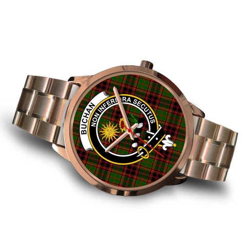 Buchan Modern, Brown Leather Watch,  leather steel watch, tartan watch, tartan watches, clan watch, scotland watch, merry christmas, cyber Monday, halloween, black Friday