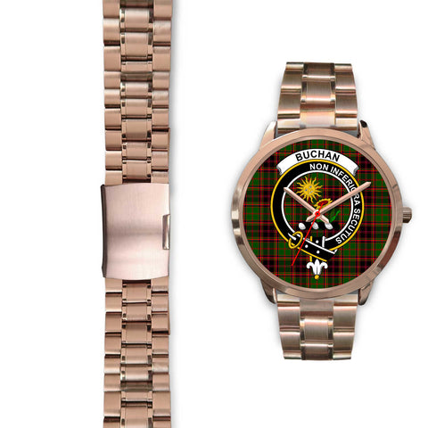 Buchan Modern, Black Leather Watch,  leather steel watch, tartan watch, tartan watches, clan watch, scotland watch, merry christmas, cyber Monday, halloween, black Friday