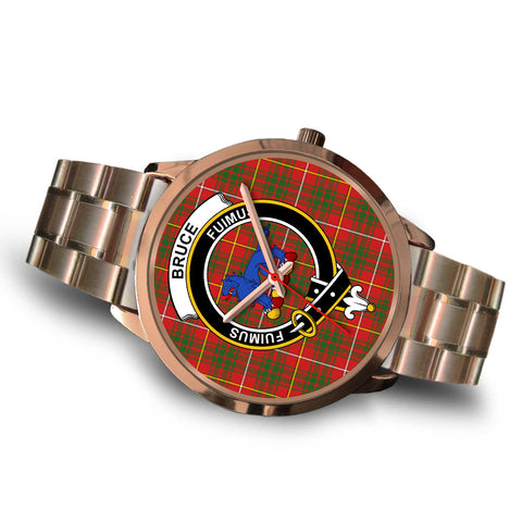 Image of Bruce Modern, Brown Leather Watch,  leather steel watch, tartan watch, tartan watches, clan watch, scotland watch, merry christmas, cyber Monday, halloween, black Friday