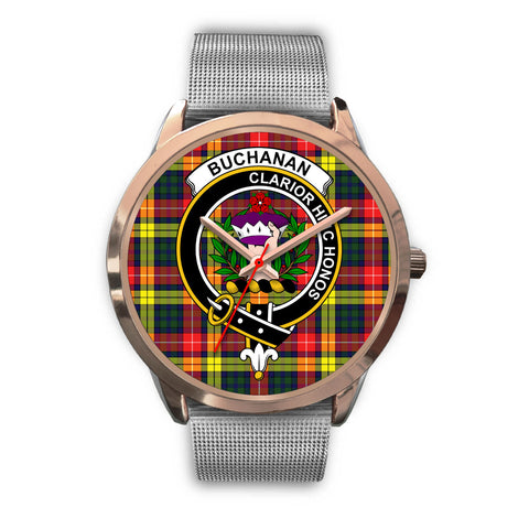 Image of Buchanan Modern, Rose Gold Metal Link Watch,  leather steel watch, tartan watch, tartan watches, clan watch, scotland watch, merry christmas, cyber Monday, halloween, black Friday