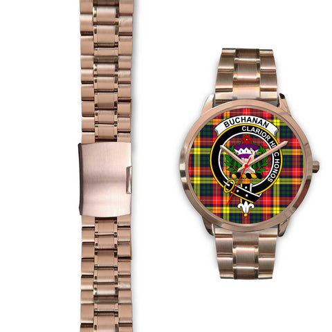 Image of Buchanan Modern, Black Leather Watch,  leather steel watch, tartan watch, tartan watches, clan watch, scotland watch, merry christmas, cyber Monday, halloween, black Friday