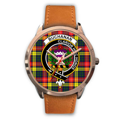Image of Buchanan Modern, Pink Leather Watch,  leather steel watch, tartan watch, tartan watches, clan watch, scotland watch, merry christmas, cyber Monday, halloween, black Friday