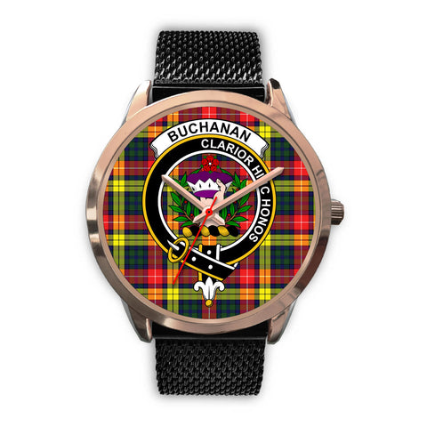 Image of Buchanan Modern, Silver Metal Link Watch,  leather steel watch, tartan watch, tartan watches, clan watch, scotland watch, merry christmas, cyber Monday, halloween, black Friday
