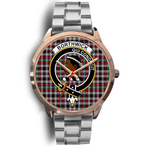 Borthwick Ancient, Brown Leather Watch,  leather steel watch, tartan watch, tartan watches, clan watch, scotland watch, merry christmas, cyber Monday, halloween, black Friday