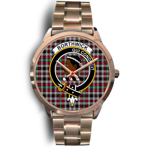 Borthwick Ancient, Rose Gold Metal Link Watch,  leather steel watch, tartan watch, tartan watches, clan watch, scotland watch, merry christmas, cyber Monday, halloween, black Friday