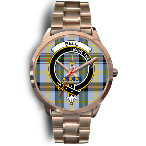 Bell of the Borders, Rose Gold Metal Link Watch,  leather steel watch, tartan watch, tartan watches, clan watch, scotland watch, merry christmas, cyber Monday, halloween, black Friday