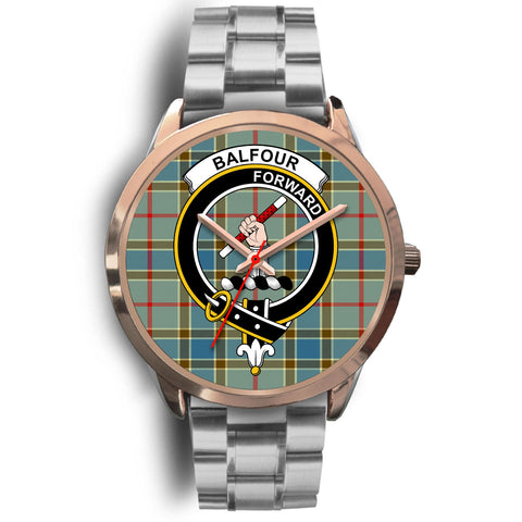 Image of Balfour Blue, Brown Leather Watch,  leather steel watch, tartan watch, tartan watches, clan watch, scotland watch, merry christmas, cyber Monday, halloween, black Friday