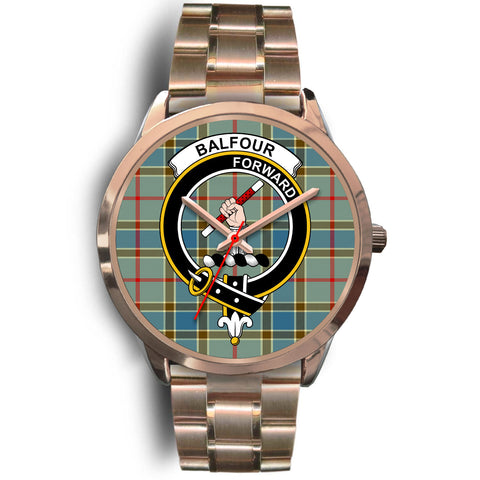 Image of Balfour Blue, Rose Gold Metal Link Watch,  leather steel watch, tartan watch, tartan watches, clan watch, scotland watch, merry christmas, cyber Monday, halloween, black Friday