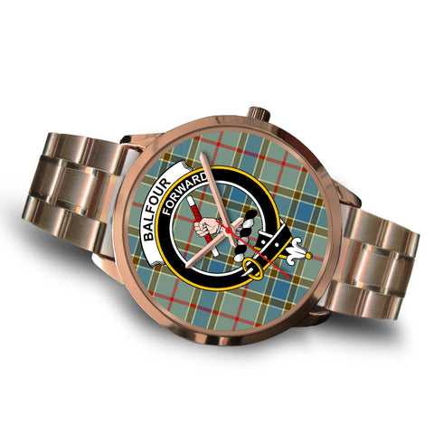 Balfour Blue, Brown Leather Watch,  leather steel watch, tartan watch, tartan watches, clan watch, scotland watch, merry christmas, cyber Monday, halloween, black Friday