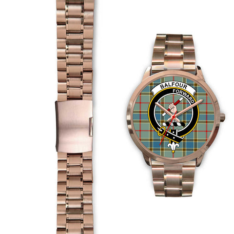 Image of Balfour Blue, Black Leather Watch,  leather steel watch, tartan watch, tartan watches, clan watch, scotland watch, merry christmas, cyber Monday, halloween, black Friday