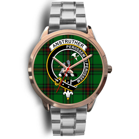 Anstruther, Brown Leather Watch,  leather steel watch, tartan watch, tartan watches, clan watch, scotland watch, merry christmas, cyber Monday, halloween, black Friday