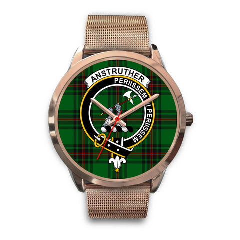 Anstruther, Black Leather Watch,  leather steel watch, tartan watch, tartan watches, clan watch, scotland watch, merry christmas, cyber Monday, halloween, black Friday