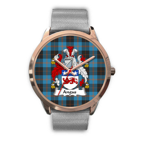 Angus Ancient, Rose Gold Metal Link Watch,  leather steel watch, tartan watch, tartan watches, clan watch, scotland watch, merry christmas, cyber Monday, halloween, black Friday