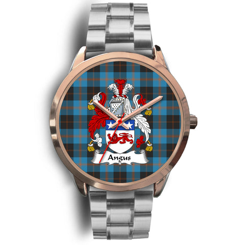 Angus Ancient, Brown Leather Watch,  leather steel watch, tartan watch, tartan watches, clan watch, scotland watch, merry christmas, cyber Monday, halloween, black Friday