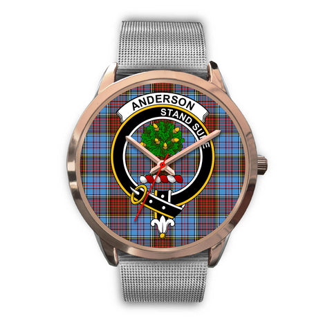 Anderson Modern, Rose Gold Metal Link Watch,  leather steel watch, tartan watch, tartan watches, clan watch, scotland watch, merry christmas, cyber Monday, halloween, black Friday