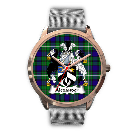 Alexander, Rose Gold Metal Link Watch,  leather steel watch, tartan watch, tartan watches, clan watch, scotland watch, merry christmas, cyber Monday, halloween, black Friday