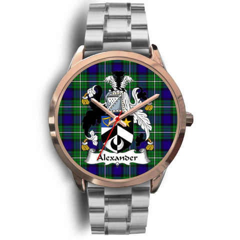Alexander, Brown Leather Watch,  leather steel watch, tartan watch, tartan watches, clan watch, scotland watch, merry christmas, cyber Monday, halloween, black Friday