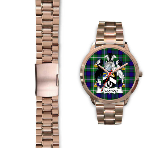 Alexander, Black Leather Watch,  leather steel watch, tartan watch, tartan watches, clan watch, scotland watch, merry christmas, cyber Monday, halloween, black Friday