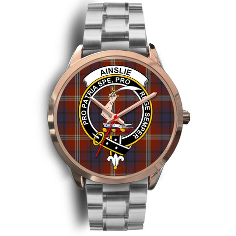 Ainslie, Brown Leather Watch,  leather steel watch, tartan watch, tartan watches, clan watch, scotland watch, merry christmas, cyber Monday, halloween, black Friday
